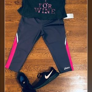 NWT asics gray and pink workout capris leggings